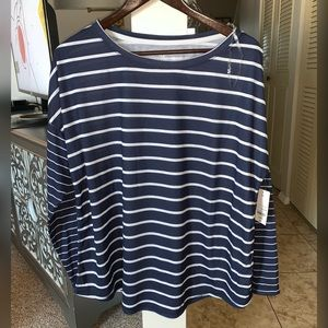 Navy blue. White striped long sleeve